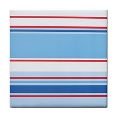 Navy Blue White Red Stripe Blue Finely Striped Line Tile Coasters