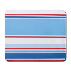 Navy Blue White Red Stripe Blue Finely Striped Line Large Mousepads