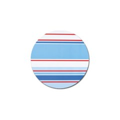 Navy Blue White Red Stripe Blue Finely Striped Line Golf Ball Marker
