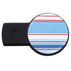 Navy Blue White Red Stripe Blue Finely Striped Line USB Flash Drive Round (1 GB)