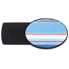 Navy Blue White Red Stripe Blue Finely Striped Line USB Flash Drive Oval (2 GB)