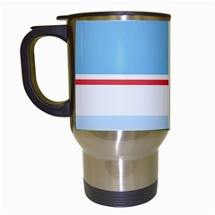 Navy Blue White Red Stripe Blue Finely Striped Line Travel Mugs (White)