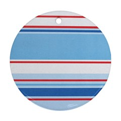 Navy Blue White Red Stripe Blue Finely Striped Line Round Ornament (Two Sides)