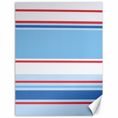 Navy Blue White Red Stripe Blue Finely Striped Line Canvas 18  x 24