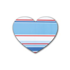 Navy Blue White Red Stripe Blue Finely Striped Line Heart Coaster (4 pack)
