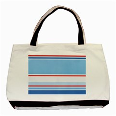 Navy Blue White Red Stripe Blue Finely Striped Line Basic Tote Bag (Two Sides)