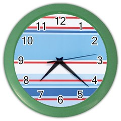 Navy Blue White Red Stripe Blue Finely Striped Line Color Wall Clocks