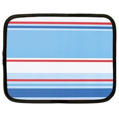 Navy Blue White Red Stripe Blue Finely Striped Line Netbook Case (Large)