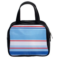 Navy Blue White Red Stripe Blue Finely Striped Line Classic Handbags (2 Sides)