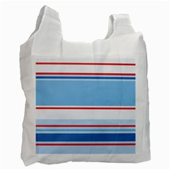 Navy Blue White Red Stripe Blue Finely Striped Line Recycle Bag (One Side)