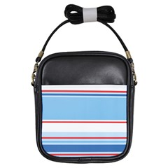 Navy Blue White Red Stripe Blue Finely Striped Line Girls Sling Bags