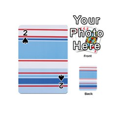 Navy Blue White Red Stripe Blue Finely Striped Line Playing Cards 54 (Mini)