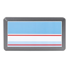 Navy Blue White Red Stripe Blue Finely Striped Line Memory Card Reader (Mini)