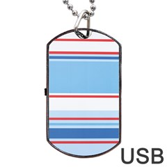 Navy Blue White Red Stripe Blue Finely Striped Line Dog Tag USB Flash (Two Sides)