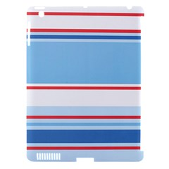 Navy Blue White Red Stripe Blue Finely Striped Line Apple iPad 3/4 Hardshell Case (Compatible with Smart Cover)
