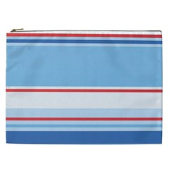Navy Blue White Red Stripe Blue Finely Striped Line Cosmetic Bag (XXL)