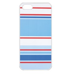 Navy Blue White Red Stripe Blue Finely Striped Line Apple iPhone 5 Seamless Case (White)