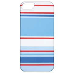 Navy Blue White Red Stripe Blue Finely Striped Line Apple iPhone 5 Classic Hardshell Case