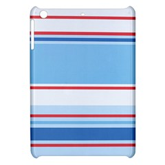 Navy Blue White Red Stripe Blue Finely Striped Line Apple iPad Mini Hardshell Case