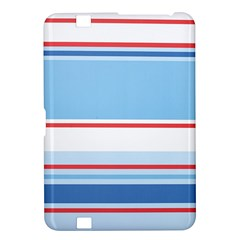 Navy Blue White Red Stripe Blue Finely Striped Line Kindle Fire HD 8.9