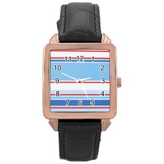 Navy Blue White Red Stripe Blue Finely Striped Line Rose Gold Leather Watch