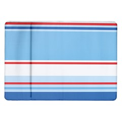 Navy Blue White Red Stripe Blue Finely Striped Line Samsung Galaxy Tab 10.1  P7500 Flip Case