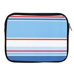 Navy Blue White Red Stripe Blue Finely Striped Line Apple iPad 2/3/4 Zipper Cases