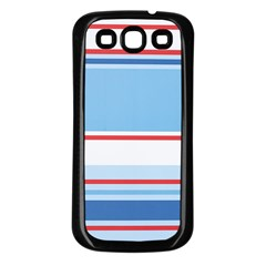 Navy Blue White Red Stripe Blue Finely Striped Line Samsung Galaxy S3 Back Case (Black)