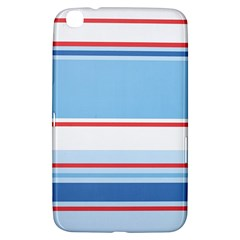 Navy Blue White Red Stripe Blue Finely Striped Line Samsung Galaxy Tab 3 (8 ) T3100 Hardshell Case
