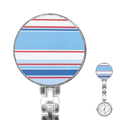 Navy Blue White Red Stripe Blue Finely Striped Line Stainless Steel Nurses Watch