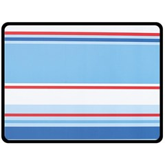 Navy Blue White Red Stripe Blue Finely Striped Line Double Sided Fleece Blanket (Large)