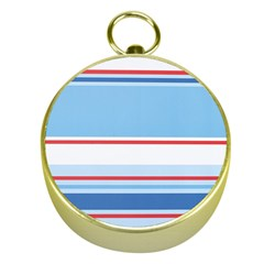 Navy Blue White Red Stripe Blue Finely Striped Line Gold Compasses