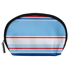 Navy Blue White Red Stripe Blue Finely Striped Line Accessory Pouches (Large)