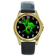Neon Green Resolution Mushroom Round Gold Metal Watch