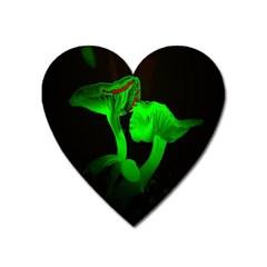 Neon Green Resolution Mushroom Heart Magnet