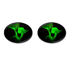 Neon Green Resolution Mushroom Cufflinks (Oval)