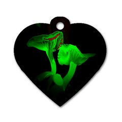 Neon Green Resolution Mushroom Dog Tag Heart (Two Sides)