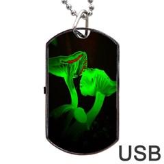 Neon Green Resolution Mushroom Dog Tag USB Flash (Two Sides)