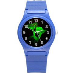 Neon Green Resolution Mushroom Round Plastic Sport Watch (S)