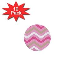 Pink Red White Grey Chevron Wave 1  Mini Buttons (10 pack)