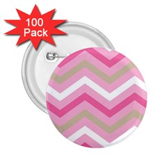 Pink Red White Grey Chevron Wave 2.25  Buttons (100 pack)