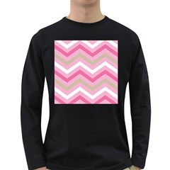 Pink Red White Grey Chevron Wave Long Sleeve Dark T-Shirts