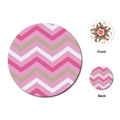 Pink Red White Grey Chevron Wave Playing Cards (Round)
