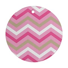 Pink Red White Grey Chevron Wave Round Ornament (Two Sides)