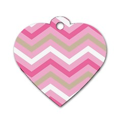 Pink Red White Grey Chevron Wave Dog Tag Heart (One Side)