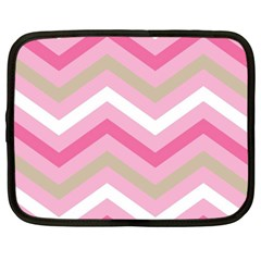 Pink Red White Grey Chevron Wave Netbook Case (Large)