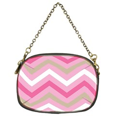 Pink Red White Grey Chevron Wave Chain Purses (One Side)