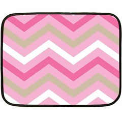 Pink Red White Grey Chevron Wave Double Sided Fleece Blanket (Mini)