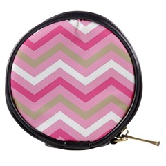Pink Red White Grey Chevron Wave Mini Makeup Bags