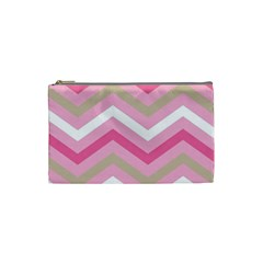 Pink Red White Grey Chevron Wave Cosmetic Bag (Small)